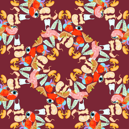 maroon background: seamless pattern with a human heart organ, lungs, liver, brain, eyes, ears, mouth, maroon background vector illustration