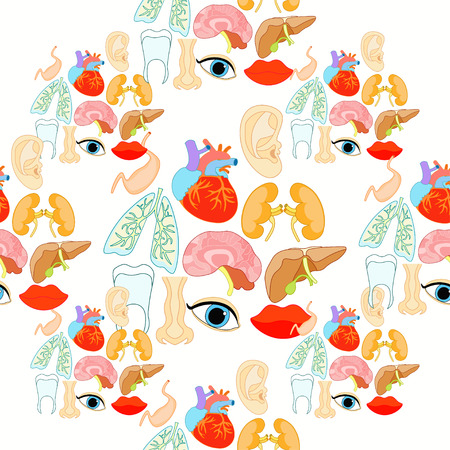 gallbladder surgery: seamless pattern with a human heart organ, lungs, liver, brain, eyes, ears, mouth vector illustration Illustration