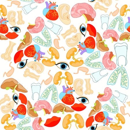 seamless pattern with a human heart organ, lungs, liver, brain, spleen, eyes, ears, mouth vector illustration Illustration