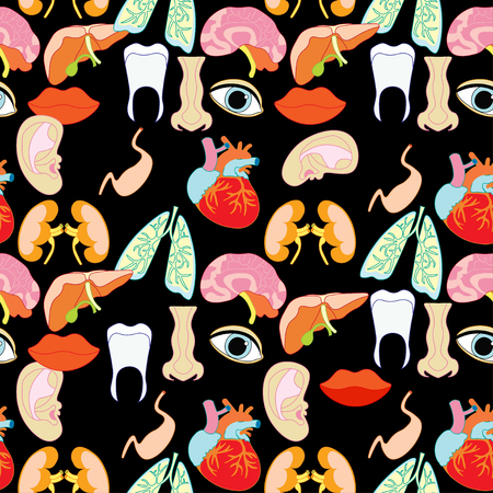 seamless pattern with a human heart organ, lungs, liver, eyes, ears, mouth, on a black background vector illustration