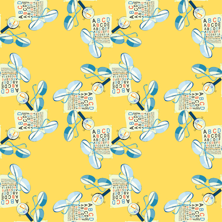 myopia: seamless pattern with glasses of view to measure and magnifying glass on a yellow background vector illustration