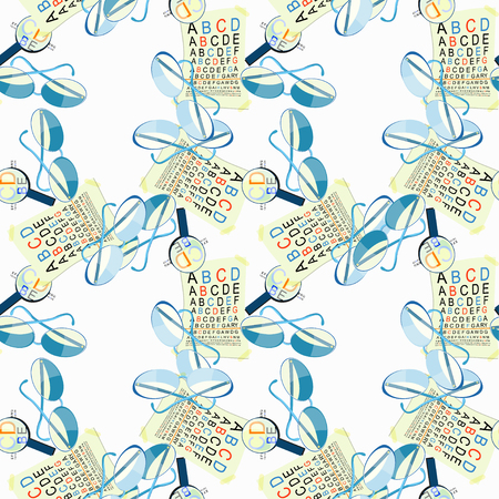 disturbed: seamless pattern with medical glasses of view to measure and magnifier vector illustration