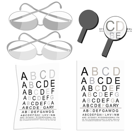 disturbed: set graphics of glasses of view to measure and magnifier vector illustration