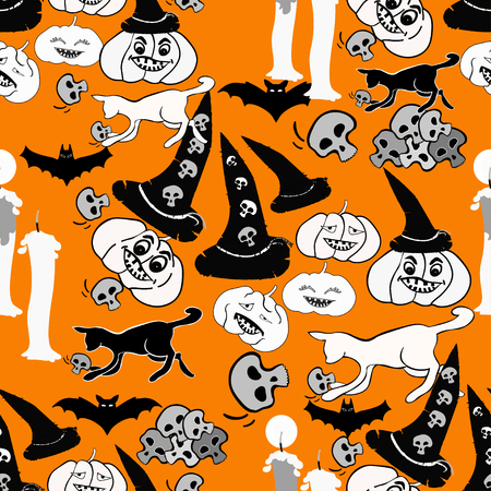 seamless pattern for halloween bat, pumpkin, witch hat on orange background vector illustration Illustration