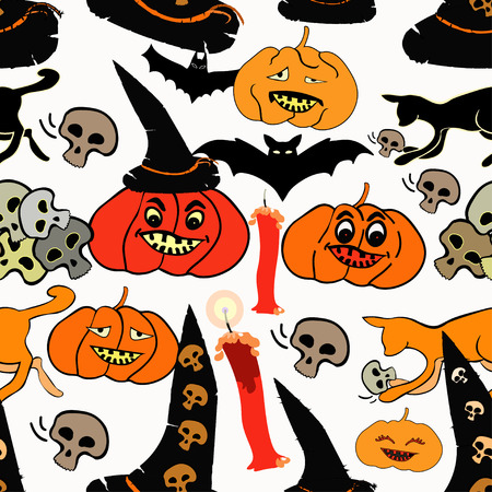 seamless pattern for halloween bat, pumpkin, witch hat vector illustration