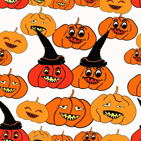 terrible: seamless pattern for halloween witch hat, pumpkin terrible vector illustration
