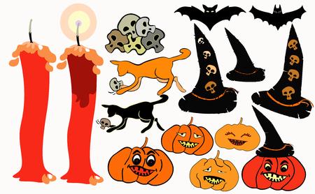 set halloween bat, pumpkin, witch hat vector illustration