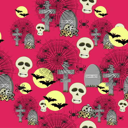 seamless pattern for halloween bat, moon, spider, cemetery on a pink background vector illustration