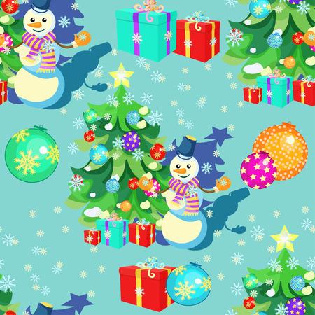 seamless avec des décorations de Noël, cadeaux, bonhomme de neige, flocons de neige illustration vectorielle