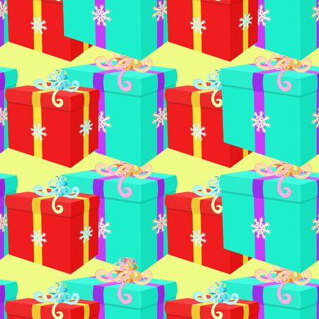 Modèle sans couture avec des cadeaux de l'illustration vectorielle de Noël Vecteurs