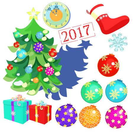 ensemble de décorations de Noël, jouets, boules, arbre de Noël, horloge, douze, cadeaux, chaussettes de père Noël, illustration vectorielle 2017 Vecteurs