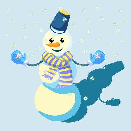 Bonhomme de neige dans un foulard et des mitaines illustration vectorielle