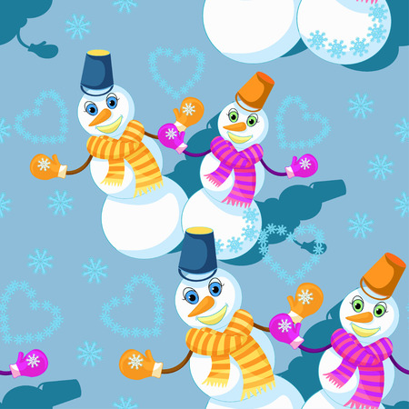seamless pattern with a couple of snowman in scarf, mittens, and a bucket on a blue background vector illustration