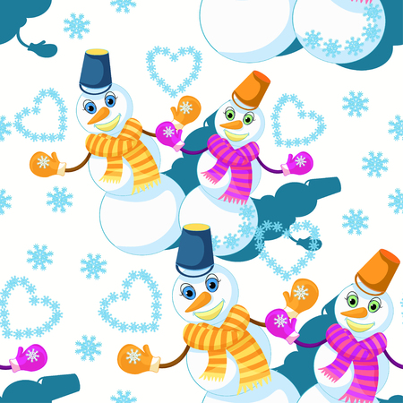 modèle sans couture avec un couple de bonhomme de neige en écharpe, mitaines et une illustration vectorielle de seau