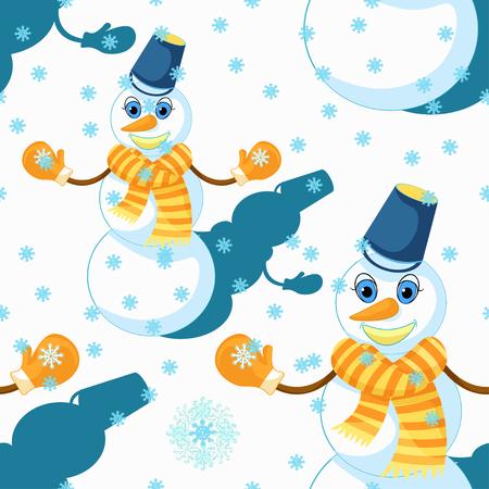modèle sans couture avec un bonhomme de neige portant une écharpe, des mitaines et une illustration vectorielle de seau Vecteurs