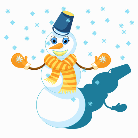 Snowman to celebrate the new year vector illustration Illustration