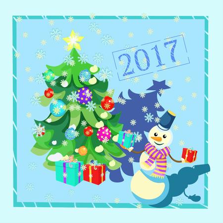 Décorations de Noël de carte, arbre de Noël, cadeaux, bonhomme de neige dans une illustration vectorielle de cadre bleu Vecteurs