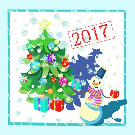 Carte des décorations de Noël, arbre de Noël, cadeaux, bonhomme de neige vecteur de cadre illustration Vecteurs