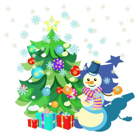 Décorations de Noël de carte, arbre de Noël, cadeaux, illustration vectorielle de bonhomme de neige