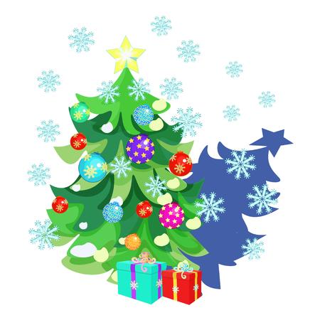 carte de Noël avec des jouets, des cadeaux, arbre de Noël, des flocons de neige, vecteur, Illustration