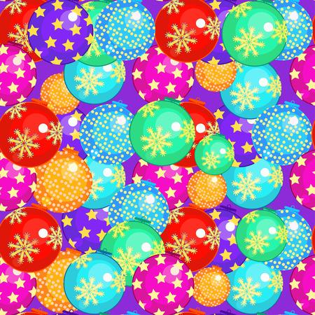 seamless pattern avec des boules de Noël sur un fond violet illustration vectorielle Vecteurs