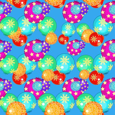 Modèle sans couture avec des boules de Noël sur illustration vectorielle fond bleu
