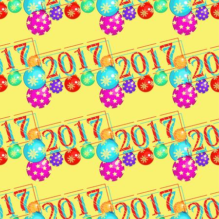 modèle sans couture avec des décorations de Noël sur une illustration vectorielle de fond jaune Vecteurs
