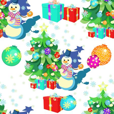 modèle sans couture avec des décorations de Noël, arbre de Noël, cadeaux, bonhomme de neige, illustration vectorielle de flocons de neige