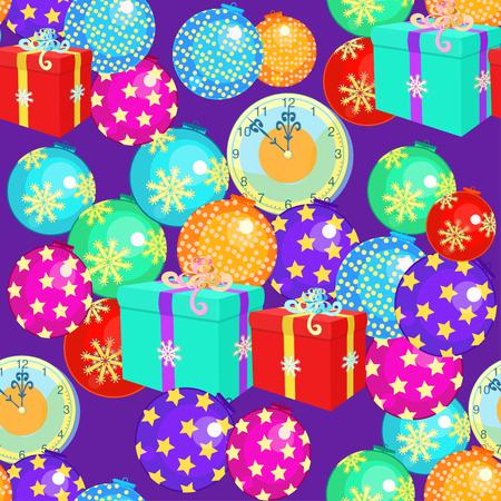seamless pattern avec des décorations de Noël, cadeaux de Noël horloge sur fond violet illustration vectorielle