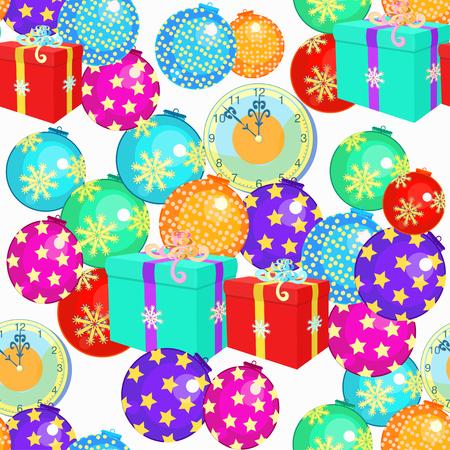 modèle sans couture avec des décorations de Noël, cadeaux d'illustration vectorielle horloge de Noël Vecteurs