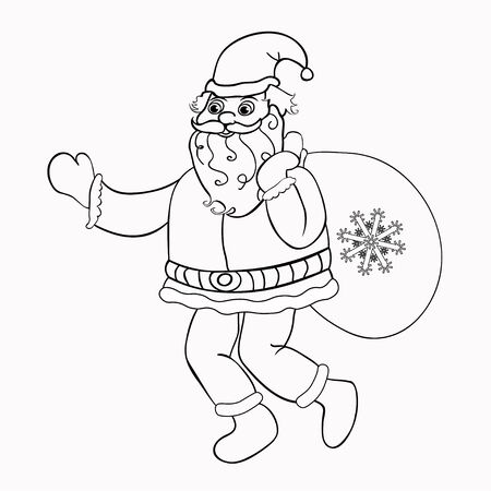 klaus: Coloring Santa Claus with a bag of gifts vector illustration