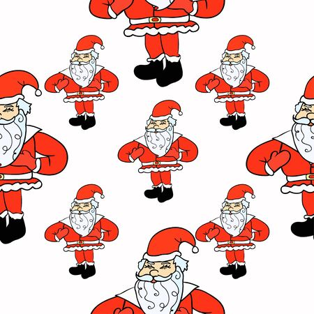 seamless pattern laughing Santa Claus with gift bag vector illustration