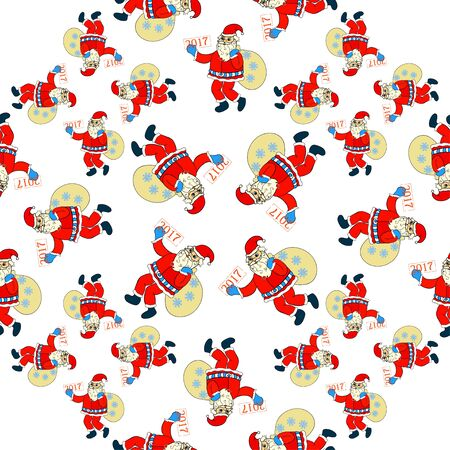 klaus: seamless pattern of Santa Claus with bag of gifts and snowflakes vector illustration