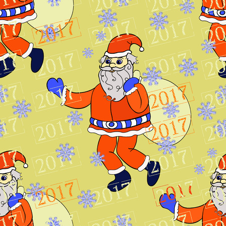 seamless pattern smiling Santa Claus with a bag of gifts on a gold background vector illustration