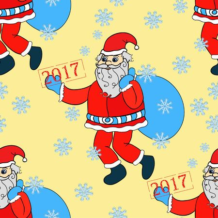 klaus: seamless pattern smiling Santa Claus with a bag of gifts on a yellow background vector illustration Illustration