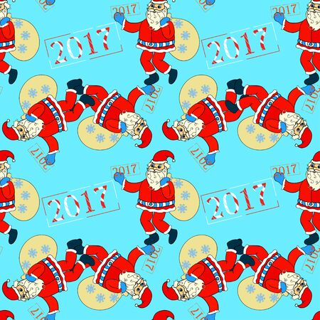 seamless pattern smiling Santa Claus with bag of gifts and snowflakes vector illustration Иллюстрация