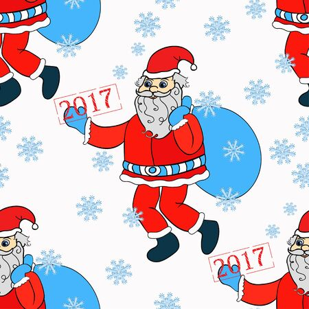 seamless pattern smiling Santa Claus with gift bag vector illustration
