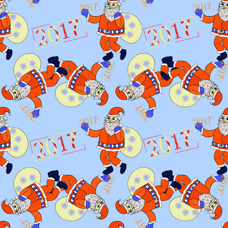 klaus: seamless pattern smiling Santa Claus with sack of presents and snowflakes vector illustration