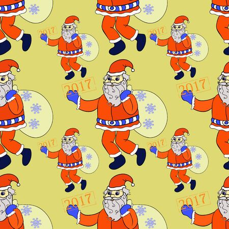 seamless pattern smiling Santa Claus with sack of presents on gold vector illustration