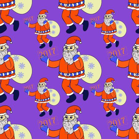seamless pattern smiling Santa Claus with sack of presents on purple vector illustration Иллюстрация