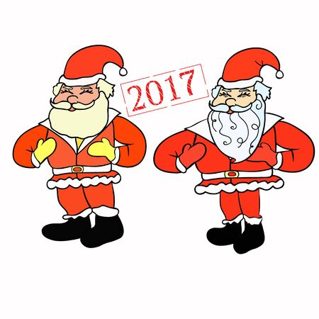 set of Santa Claus with a bag of gifts vector illustration