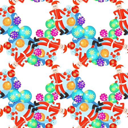 'grandfather frost': Seamless circular pattern Christmas balls and cheerful grandfather frost vector illustration Illustration