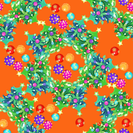 Seamless circular pattern fishbone and Christmas balls on an orange background. vector illustration