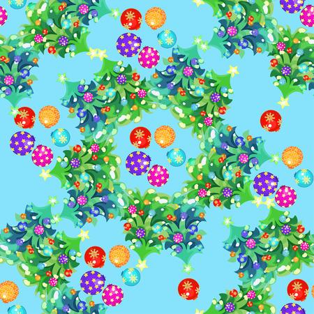 Boules de Noël et motif circulaire sans soudure de poisson sur l'illustration vectorielle bleue