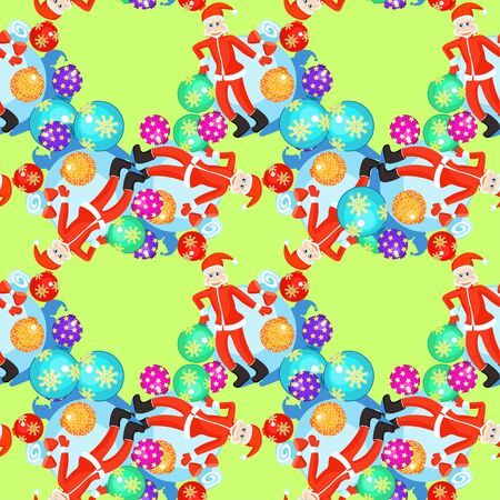 seamless pattern Christmas balls and cheerful Santa Claus on a green background vector illustration