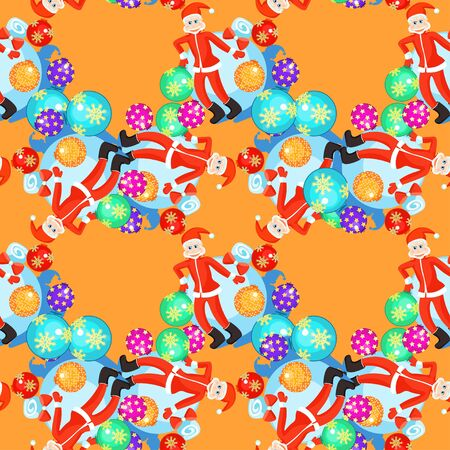 klaus: seamless pattern Christmas balls and cheerful Santa Claus on orange background vector illustration Illustration