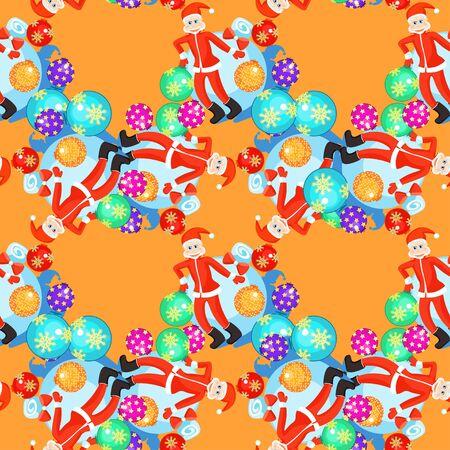 seamless pattern Christmas balls and cheerful Santa Claus on orange background vector illustration Иллюстрация