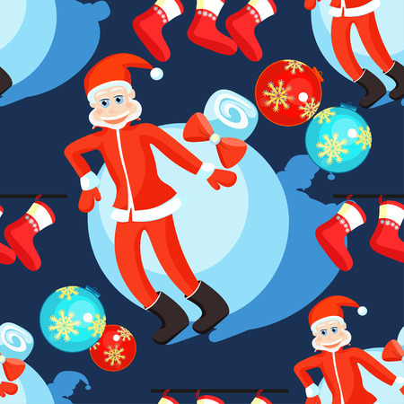 seamless pattern christmas balls and Santa Claus on a dark background vector illustration