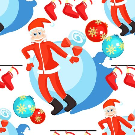 seamless pattern christmas balls and Santa Claus on a white background vector illustration