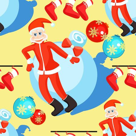 seamless pattern christmas balls and Santa Claus on a yellow background vector illustration
